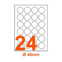 Etichette adesive rotonde diametro 40mm, in carta bianca