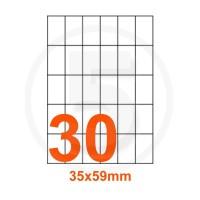 Etichette adesive 35x59mm, in carta bianca