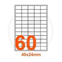 Etichette adesive 40x24mm, in carta bianca