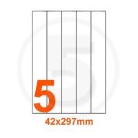 Etichette adesive 42x297mm, in carta bianca