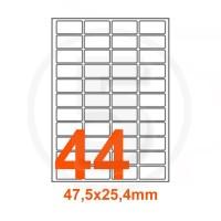 Etichette adesive 47,5x25,4mm, in carta bianca
