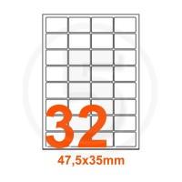 Etichette adesive 47,5x35mm, in carta bianca