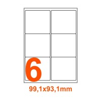 Etichette adesive Riciclate 99,1x93,1mm color Bianco