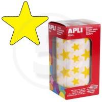 Etichette adesive a forma di stella color Giallo. Bollini a forma di stella. In rotoli