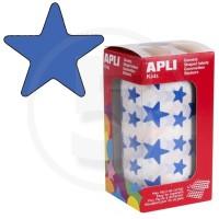 Etichette adesive a forma di stella color Blu. Bollini a forma di stella. In rotoli