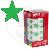 Etichette adesive a forma di stella color Verde. Bollini a forma di stella. In rotoli