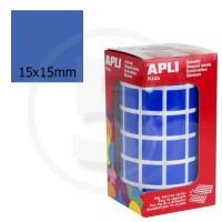 Etichette adesive quadrate color Blue. Bollini quadratti 15x15mm