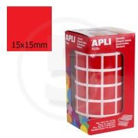 Etichette adesive quadrate color Rosso. Bollini quadratti 15x15mm