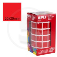 Etichette adesive quadrate color Rosso. Bollini quadratti 20x20mm