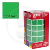 Etichette adesive quadrate color Verde. Bollini quadratti 15x15mm