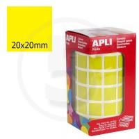 Etichette adesive quadrate color Giallo. Bollini quadratti 20x20mm