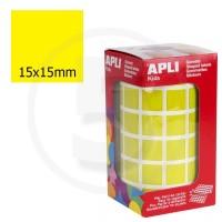 Etichette adesive quadrate color Giallo. Bollini quadratti 15x15mm