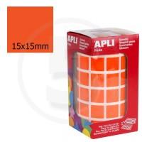 Etichette adesive quadrate color Arancione. Bollini quadratti 15x15mm
