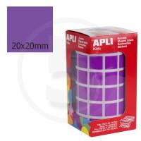 Etichette adesive quadrate color Viola. Bollini quadratti 20x20mm