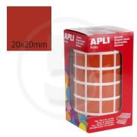Etichette adesive quadrate color Marrone. Bollini quadratti 20x20mm