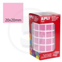 Etichette adesive quadrate color Rosa. Bollini quadratti 20x20mm