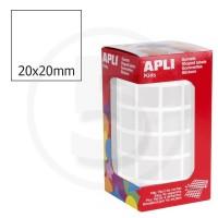 Etichette adesive quadrate color Bianco. Bollini quadratti 20x20mm