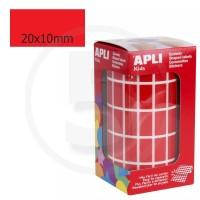 Etichette adesive rettangolari color Rosso. Bollini rettangolari 20x10mm