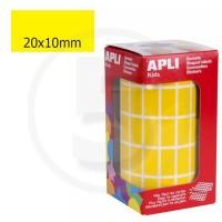 Etichette adesive rettangolari color Giallo. Bollini rettangolari 20x10mm
