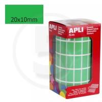 Etichette adesive rettangolari color Verde. Bollini rettangolari 20x10mm