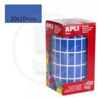 Etichette adesive rettangolari color Blu. Bollini rettangolari 20x10mm