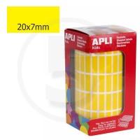 Etichette adesive rettangolari color Giallo. Bollini rettangolari 20x7mm