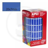 Etichette adesive rettangolari color Blu. Bollini rettangolari 20x7mm