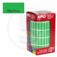 Etichette adesive rettangolari color Verde. Bollini rettangolari 20x7mm