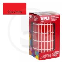 Etichette adesive rettangolari color Rosso. Bollini rettangolari 20x7mm