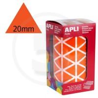 Etichette adesive triangolari color Arancione. Bollini triangolari con ogni lato di 20mm