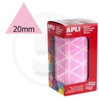 Etichette adesive triangolari color Rosa. Bollini triangolari con ogni lato di 20mm