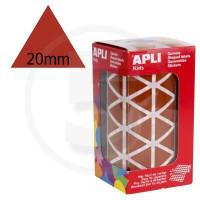 Etichette adesive triangolari color Marrone. Bollini triangolari con ogni lato di 20mm
