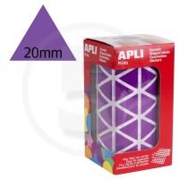 Etichette adesive triangolari color Viola. Bollini triangolari con ogni lato di 20mm
