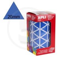 Etichette adesive triangolari color Blu. Bollini triangolari con ogni lato di 20mm