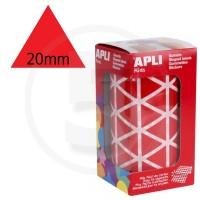Etichette adesive triangolari color Rosso. Bollini triangolari con ogni lato di 20mm
