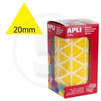 Etichette adesive triangolari color Giallo. Bollini triangolari con ogni lato di 20mm