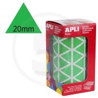 Etichette adesive triangolari color Verde. Bollini triangolari con ogni lato di 20mm