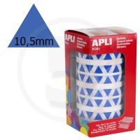 Etichette adesive triangolari color Blu. Bollini triangolari con ogni lato di 10,5mm