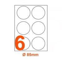 Etichette adesive rotonde diametro 85mm, in carta bianca