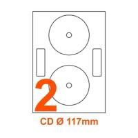 Etichette adesive per CD diametro 117mm, in carta bianca
