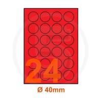 Etichette adesive pastello diametro 40mm color Rosso