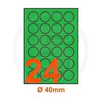 Etichette adesive pastello diametro 40mm color Verde