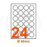 Etichette adesive diametro 40 Bianche, con bordino di sicurezza