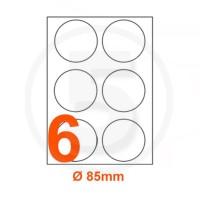 Etichette adesive diametro 85 Bianche, con bordino di sicurezza