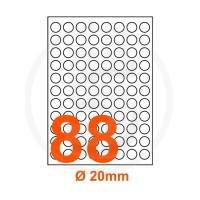 Etichette adesive diametro 20 Bianche, con bordino di sicurezza