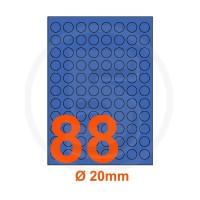 Etichette adesive pastello diametro 20mm color Blue