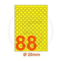 Etichette adesive pastello diametro 20mm color Giallo