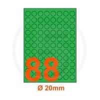 Etichette adesive pastello diametro 20mm color Verde