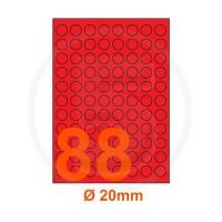 Etichette adesive pastello diametro 20mm color Rosso
