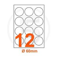 Etichette adesive diametro 60 Bianche, con bordino di sicurezza